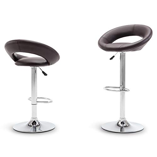 Belleze Set of (2) Modern Bar Stool Pub Height Swivel Adjustable Hydraulic Faux Leather Cushion, Dark Brown
