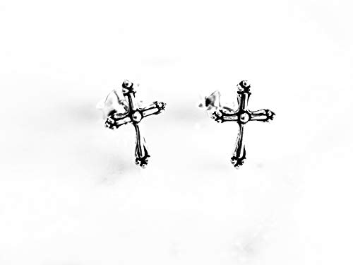 (925 Sterling Silver Oxidized Cross Stud Earrings For Men Women)