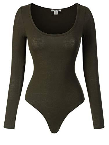- Instar Mode Women's Long Sleeve Bodycon Leotard Bodysuit Jumpsuits Olive S