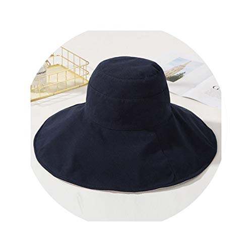 Women Summer Hat Breathable Cotton Solid Wide Brim Sun Packable Flat Top Bucket Lady Anti UV Fishing Hats Navy -