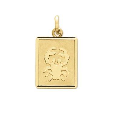 CANCER - Médaille Zodiaque - Or 18 carat - Hauteur: 14 mm - Largeur: 12 mm - www.diamants-perles.com