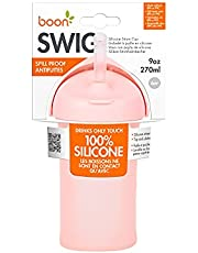 Boon Swig Silicone Straw Cup - 9 oz. Straw Sippy Cup for 6M+ - Pink