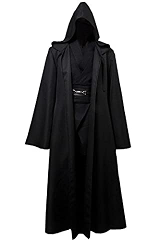 Allten Men's Cosplay Costume Black Linen Halloween Robe Tunic Outfit S - Adult Padme Amidala Costume