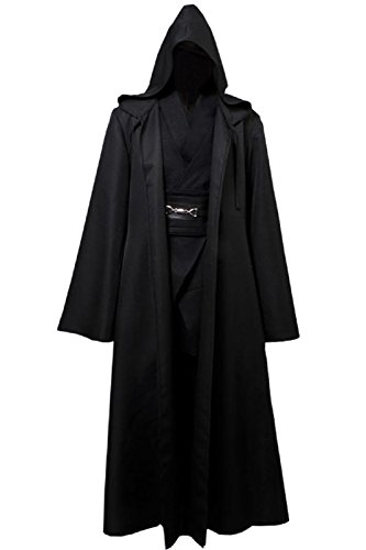 Allten Mens Cosplay Costume Black Linen Halloween Robe Tunic Outfit