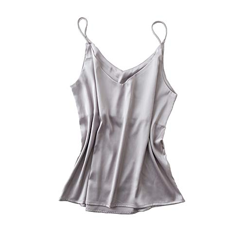 - Van Royal Womens Camisole Tops Tees Tank Ladies Cami Tops Soft Satin Sexy V Neck Crop Top Elegant (M, Grey)