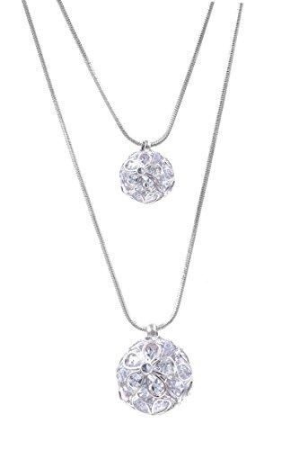 Lavencious Clear CZ Double Ball Design Trendy Long Necklace Globe 4d Long 34