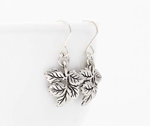 Pewter Leaf Dangle Earrings - Sterling Silver Ear Wires ()