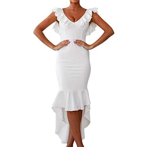 2019 New Summer Outdoor Womens Casual Long Dress,Ladies V-Neck Ruffles Sleeveless Backless Bodycon Bandage Mini Dress (White, L)