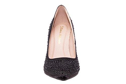 Andres Machado.AM591.Zapatos Salon.Mujer.Tallas Pequeñas y Grandes. 32/35- 42/45. Mujer. Raso Negro