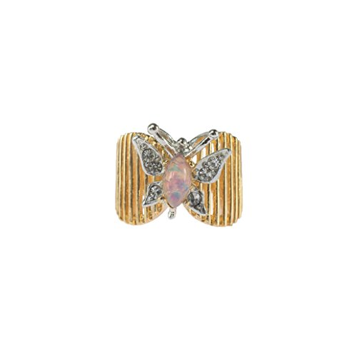 Providence Vintage Jewelry Butterfly Ring Harlequin Opal and Clear Swarovski Crystals 18kt Gold ()