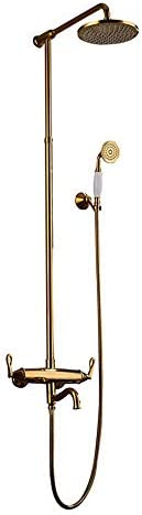 ヨーロッパ式のすべての銅の床のタイプ金張りの骨董品の熱く、冷たい雨シャワーセット/風呂の蛇口