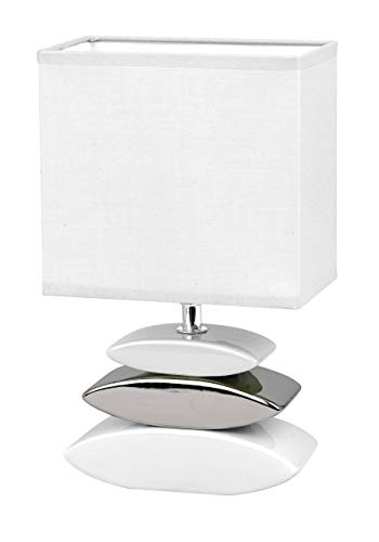 Honsel 53581 - Lampara de mesa, color blanco y pleatedo, cristal