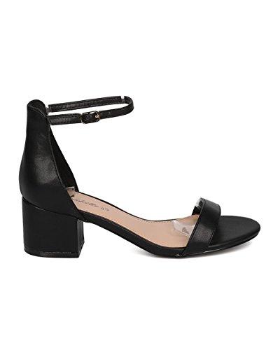 Sandalo Con Tacco Grosso In Similpelle Breckelles - Basic, Elegante, Formale, Versatile, Casual - Sandalo Con Cinturino Alla Caviglia - Gg63 By Black