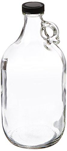 Kimble 5916438V-26 Glass Jug with Cap, PTFE-Faced LDPE Foam Liner, Clear, 2000ml Capacity (Case of 6)