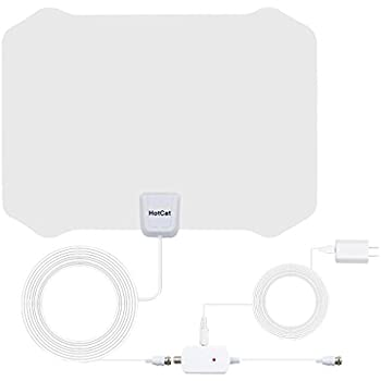 TV Antenna, Indoor Amplified HDTV Antenna 60--80 Mile Range with Detachable Amplifier Signal Booster and 16.5 Feet Coaxial Cable For 4K 1080P Free TV (White)--2018 new version