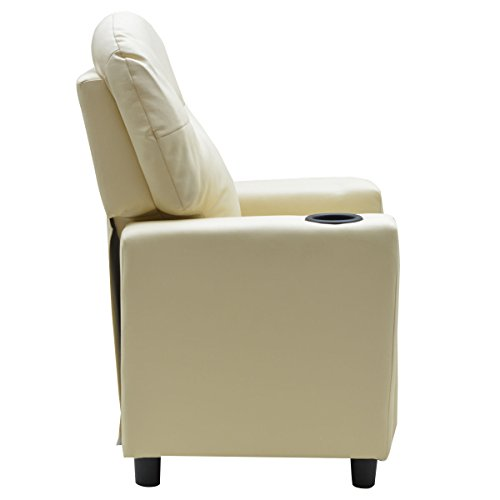 Costzon Contemporary Kids Recliner, PU Leather Lounge Furniture for Boys & Girls W/Cup Holder, Children Sofa Chair (Beige) by Costzon (Image #3)