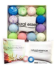 - Bath Bombs Gift Set of 12 with FREE Bath Pillow - Extended Release Fizzies