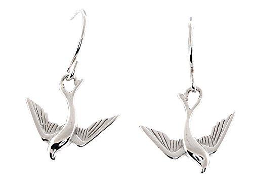 Real Silver Two Sided Barn Swallow Bird Ear-wire Dangle Earrings