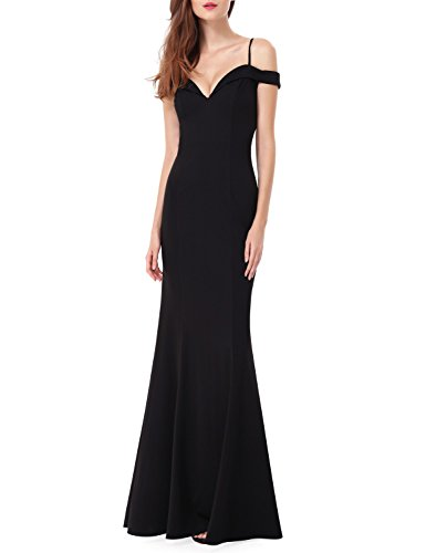 Ever-Pretty Womens Off Shoulder Sweetheart Neckline Long Evening Dress 10 US Black Long Evening Gown Dress