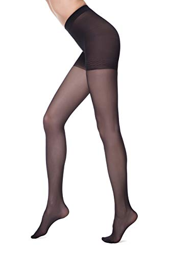 - Conte elegant Control Womens Body Shaping Sheer Compression Pantyhose Tights - Control,Black (Nero),Medium