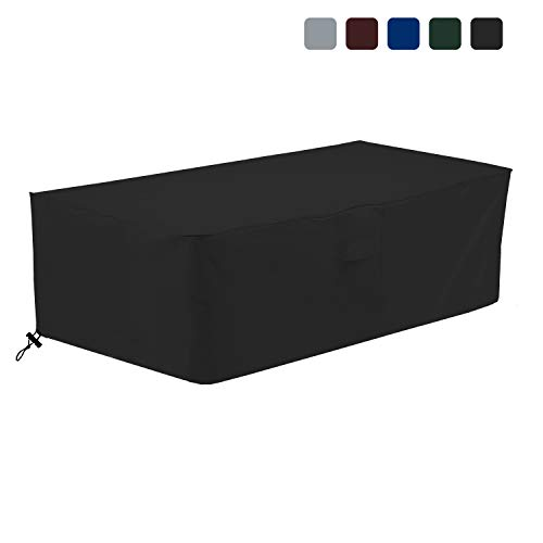 COVERS & ALL Fire Pit Cover Rectangular 18 Oz Waterproof - 100% UV & Weather Resistant Custom Size Gas Fire Pit Cover with Air Pockets and Drawstring for Snug Fit (48