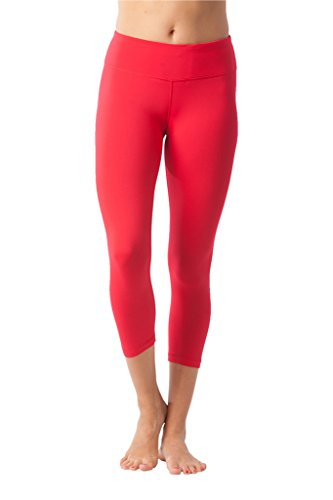 90 Degree By Reflex Yoga Capris - Yoga Capris for Women - Hidden Pocket - Red Quince - Large (Red Compression Pants Women)