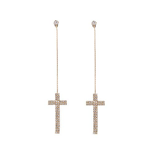 WLLAY Clear Crystal Christian Cross Threader Dangle Earrings Women Long Chain Earring (Gold)