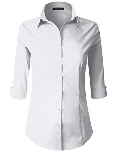 ELF FASHION 3/4 Sleeve Stretchy Button Down Collar Office Formal Casual Shirt Blouse for Women (Size S~3XL) White M
