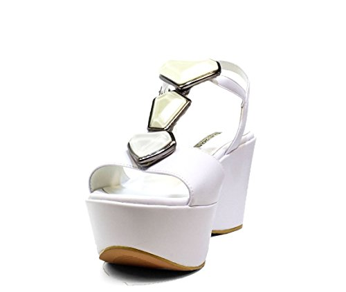 Luciano Barachini 6315A White Black Shoes Sandals Wedge, 2016 New Collection Spring Summer 6315
