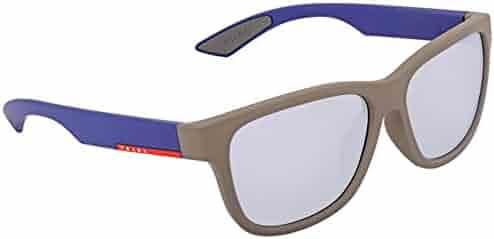 5bee8c04ab Prada Grey Mirror Blue Rectangular Mens Sunglasses PS03QSF UR62E2 59