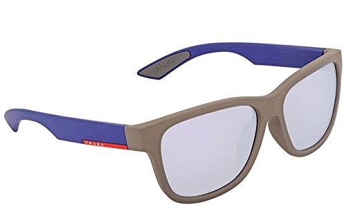 Prada Grey Mirror Blue Rectangular Mens Sunglasses PS03QSF UR62E2 ()