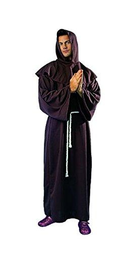 OvedcRay Monk Adult Man Costumes Regilious Medieval Brown Monk Robe - Adult Men's Colonial Brown Wig