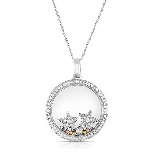 NATALIA DRAKE Sterling Silver Movable 1/5 Cttw Diamond Shaker Pendants (Star)