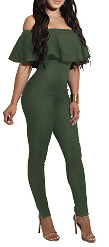 Delcoce Women's Ruffle Jumpsuits Off Shoulder Stretchy Bodycon Bodysuits Army Green L (One Piece Jumper)