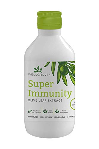 WellGrove Super Immunity Olive Leaf Extract | All-Natural Vegan Antioxidant Dietary Supplement | Immune Support | 250mL Natural