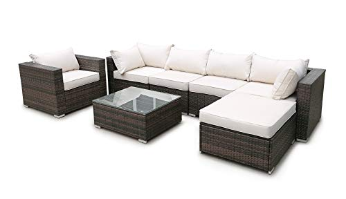 Rhomtree Outdoor Rattan Sectional Sofa Set Wicker Furniture Conversation Sofa Couch with Beige Washable Seat Cushion & Glass Coffee Table