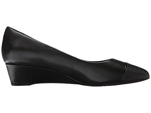 Rockport Women's Total Motion Annett Cap Toe Wedge Black Burn Calf/Lizard 9 M