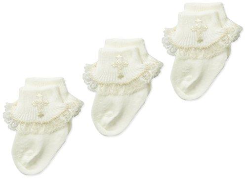 Jefferies Socks Baby Girls' Newborn Christening Lace Turn Cuff Socks 3 Pair Pack, Pearl White,