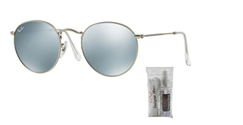 Mirror Silver Ray Matte Green light Ban Silver Metal Round Sunglasses Rb3447 PSw4qp