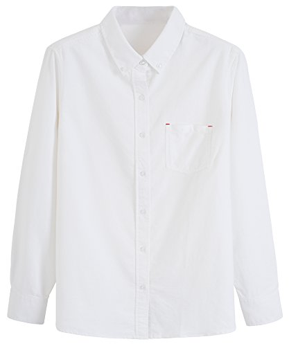 Cotton Long Sleeve Oxford Shirt (Seeksmile Women's Cotton Long Sleeve Button Down Shirt (Large, White))