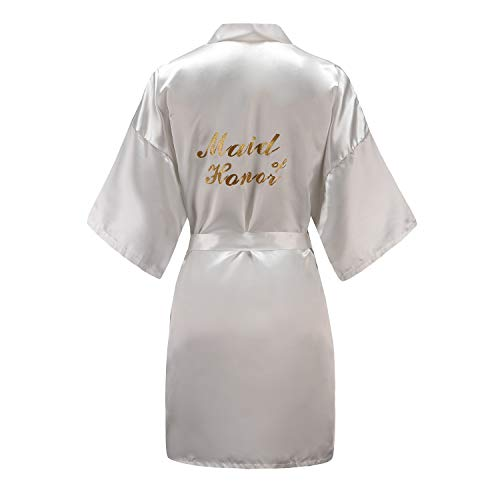 Belted Satin Robe - EPLAZA Women One Size Bride Bridesmaid Robes with Gold Glitter for Wedding Party (White, Maid of Honor)