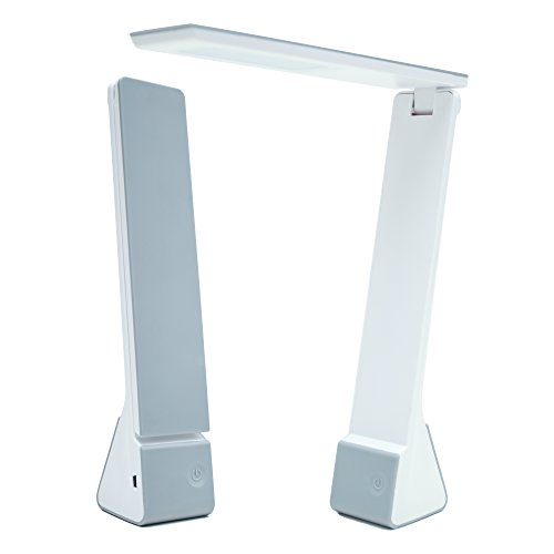 [Portable LED Desk Lamp with Rechargeable Battery Travel Size 3 Lighting Choices (Read/Study/Relax) Durable 25 Year Life (Silver)] (Daylight Ultimate Floor)