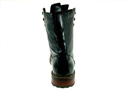 Nuovo Uomo 801025 Stivali Da Combattimento Militari Con Lacci In Pelle Di Vitello Neri
