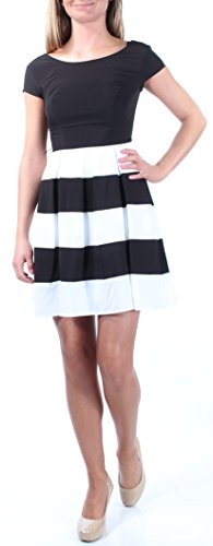 B Darlin Womens 1611 Black, White Striped Sheath Dress Juniors (Black/White/Red, 0)