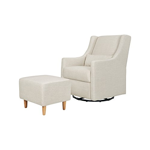 Babyletto Toco Upholstered Swivel Glider and Stationary Ottoman, White Linen