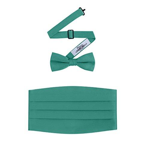Men's Formal Satin Bowtie and Cummerbund Set - Emerald Green, By S. H. - Cummerbund Silk Set Green