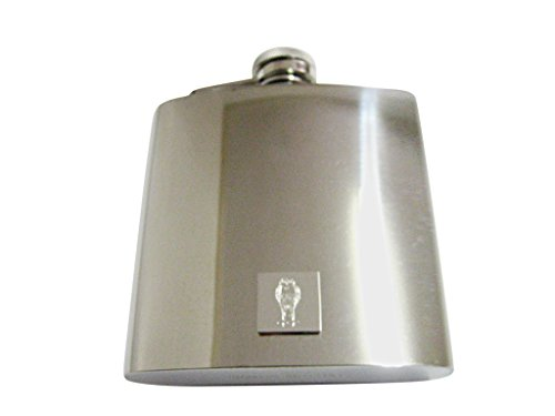 Kiola Designs Silver Toned Etched Standing Owl 6 Oz. Stainless Steel -