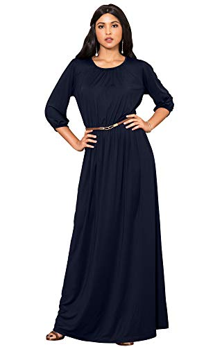 beaa932038 KOH KOH Plus Size Women Long 3 4 Sleeve Sleeves Vintage Autumn Fall Winter  Flowy Formal Evening Work Office Modest Peasant Cute Abaya Gown Gowns Maxi  Dress ...
