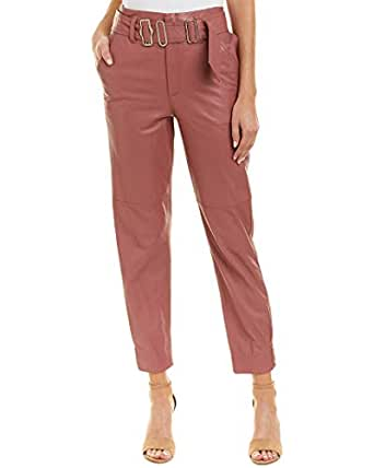 Rebecca Taylor Womens Belted Leather Pant, 4, Pink