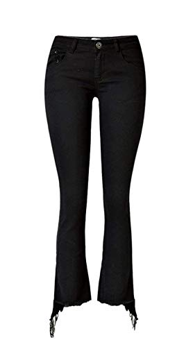 Donna Denim Ragazza Fashion Accoglienti Nero Jeans Skinny Pants Unita Stretch Pantaloni Bottone Tasche Con Tinta Da Casual Svasati 0SHgxwq4